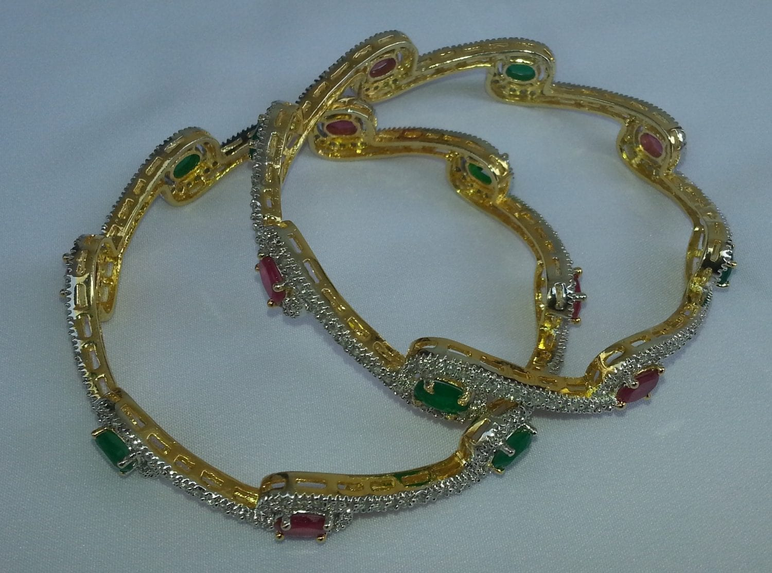 Gold Plated chooriyaan with stones work , set of two pcs J0101