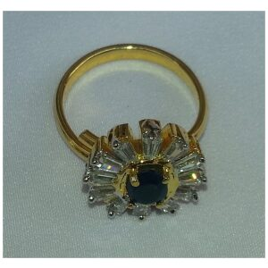 Gold Plated adjustable size ring with Navy Blue Stone