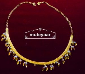 Gold Polished Neck Chain / Payal with white beads J0326