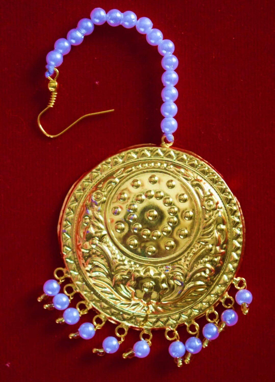 Golden Large Size Tikka Maang Teeka jewellery for giddha and bhangra J0117